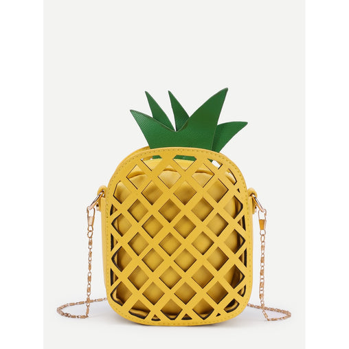 Yellow Pineapple Shaped Pu Chain Crossbody Bag