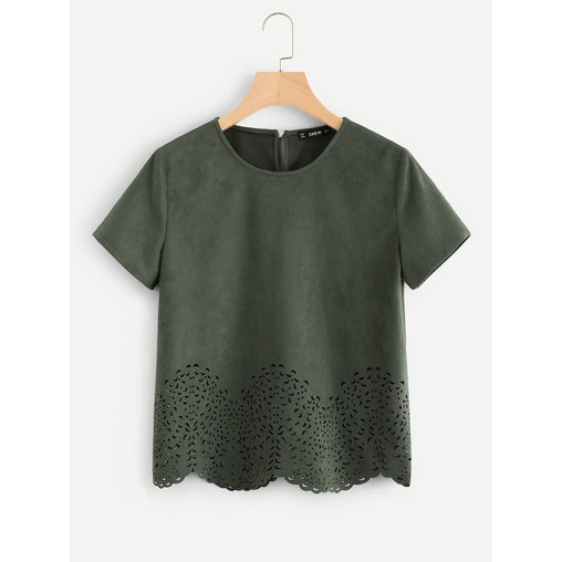 bba5d7ea4e Army Green Round Neck Short Sleeve Top - Fashiontage