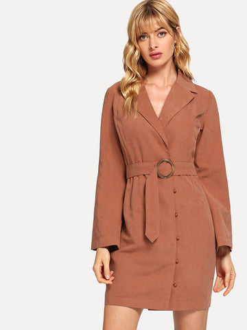 Camel Notched Collar Button Up Dress