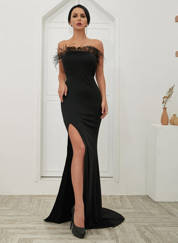 Day Dresses - Women's Trendy Evelyn Belluci Black Slit Evening Gown