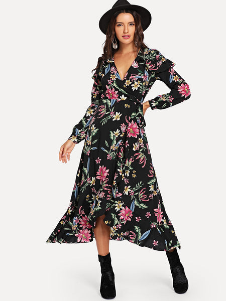 Multicolor Floral Print Knot Waist Wrap Dress