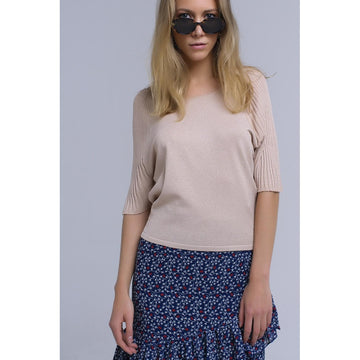 Beige Boat Neck Short Ribbed Sleeves Sweater