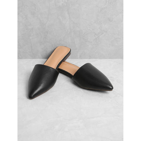 Black Pu Pointed Toe Flat Mules