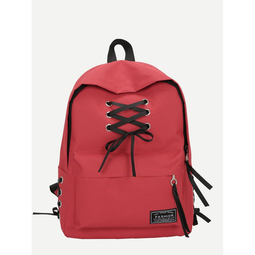 Red Lace Up Pocket Front Backpack