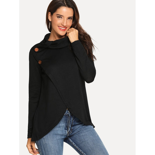 Black Button Decoration High Neck Sweater