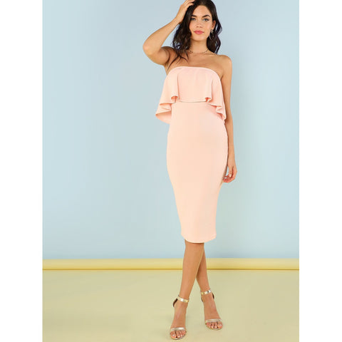 Pink Flounce Bandeau Pencil Dress