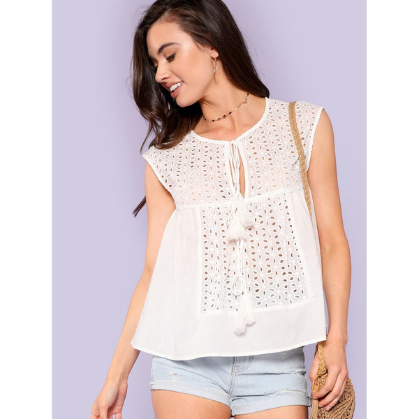 Tops - Women's Trendy Beige Round Neck Sleeveless Embroidered Top