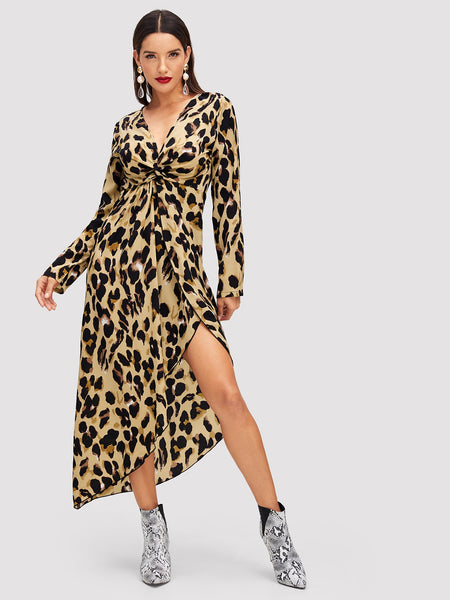Multicolor Twist Front Asymmetric Leopard Print Dress