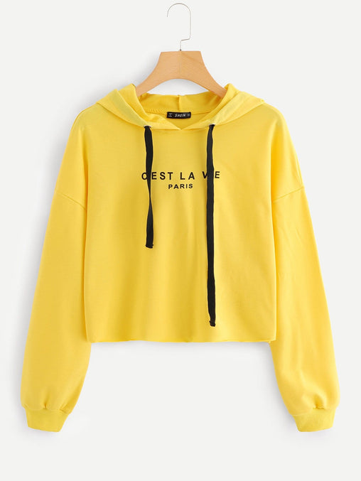 Yellow Drop Shoulder Crop Sweatshirt