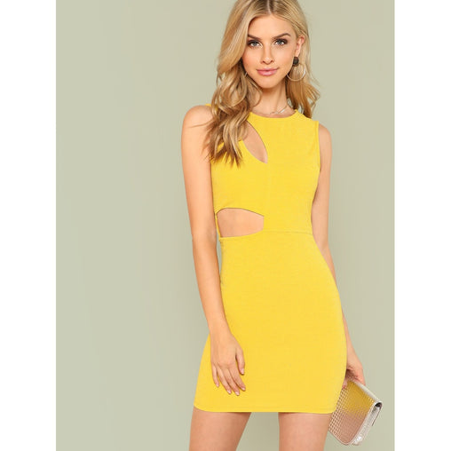 Yellow Round Neck Glitter Sheath Dress