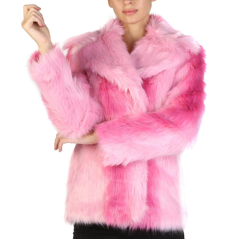 Jackets - Women's Trendy Guess Pink Pocket Fur Jacket
