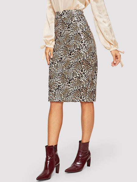 V-cut Waist Leopard Print Long Skirt
