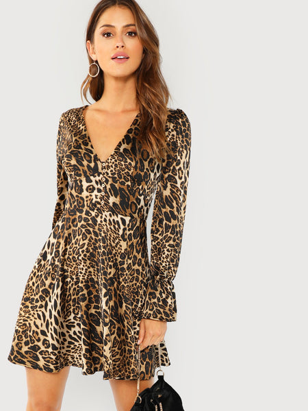 Multicolor Leopard Print Flounce Sleeve Fit And Flare Dress