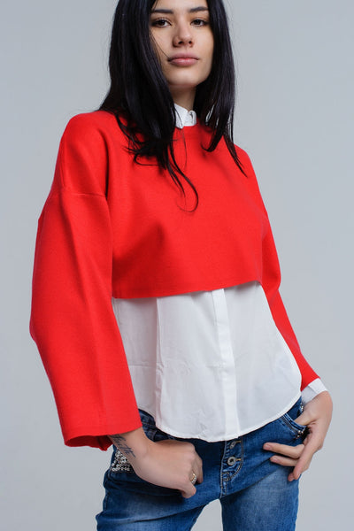 Red Round Neck Bell Sleeve Sweater