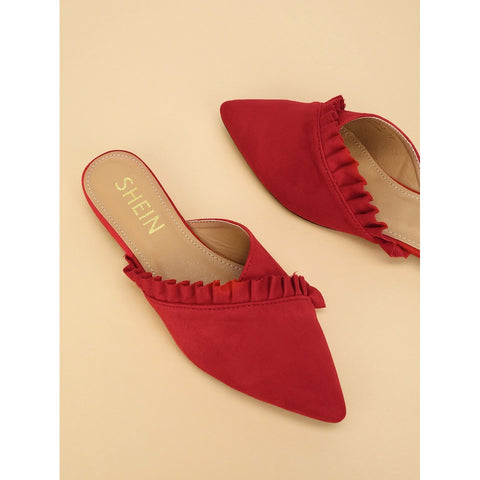 Red Ruffle Trim Pointed Toe Flat Mules