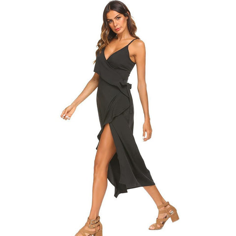 Ups - Women's Trendy Black V-Neck Spaghetti Strap Party Dress