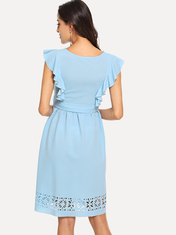 Formal Dresses - Women's Trendy Blue Flounce Trim Laser Cut Out Hem Dress