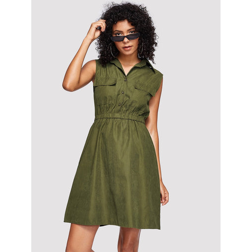 Army Green Collar Sleeveless Shift Dress