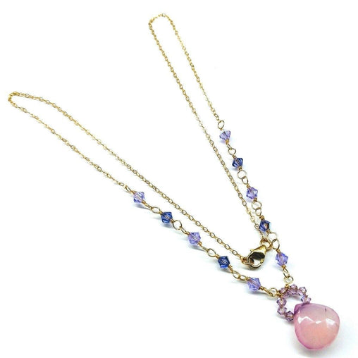 Purple Chalcedony Drop 14 KT Gold Filled Necklace