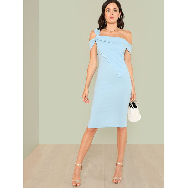 Blue Sleeveless Knee Length Party Dress