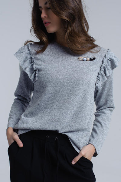 Grey Crew Neck Long Sleeve Sweater