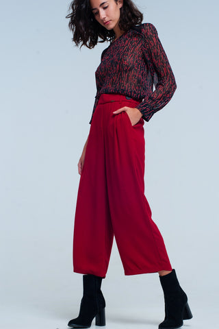 Wide Leg Pants - Women's Trendy Red Wide Leg Pant