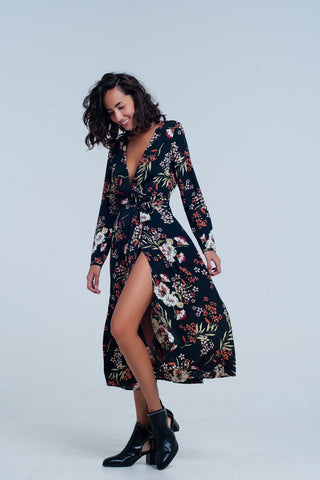 Day Dresses - Women's Trendy Black Midi Flower Print Dress