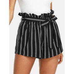 Black Belted Ruffle Waist Striped Shorts