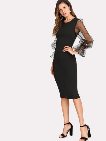 Black Pearl Beaded Mesh Sleeve Form Fitting Dress
