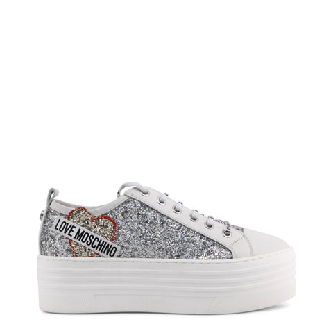 Boots - Women's Trendy Love Moschino White Glitter Round Toe Sneakers