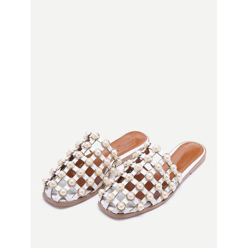 Faux Pearl Embellished Creux Sliders - Fashiontage