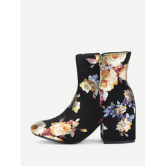 Block Heeled Floral Boots - Fashiontage