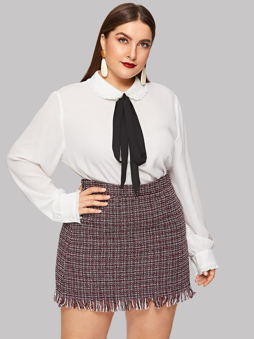 Plus Size White Tie Neck Frill Trim Top