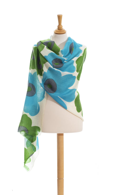 Flower power green and light blue wool scarf
