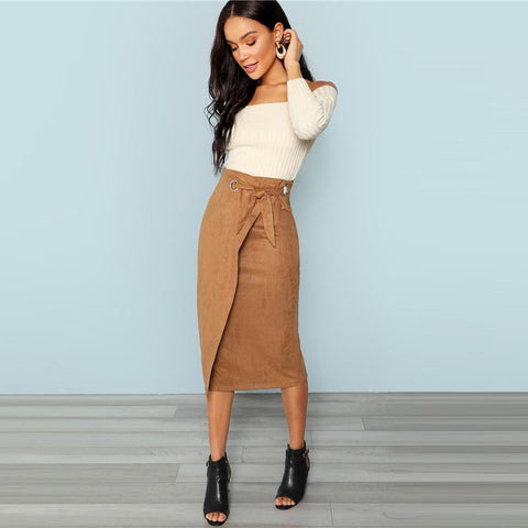 Waisted Skirts - Women's Trendy Brown Split Knee Length Pencil Skirt