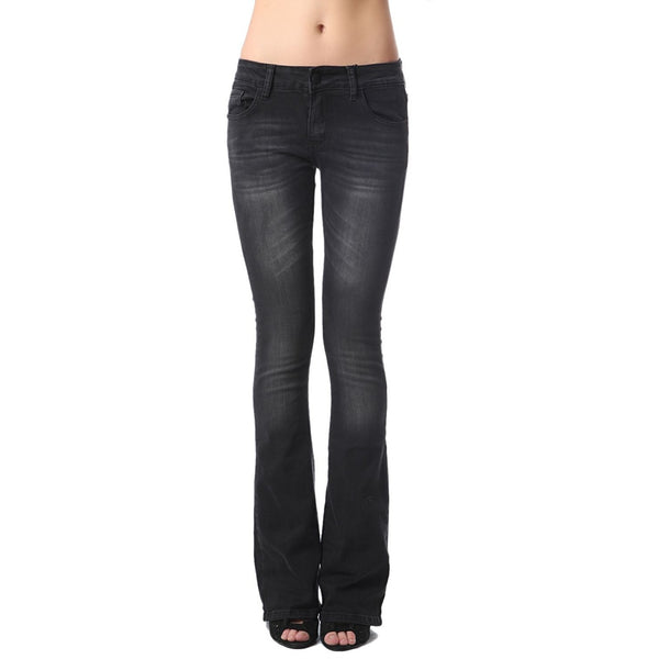 Black Low Waist Distressed Flares Jeans