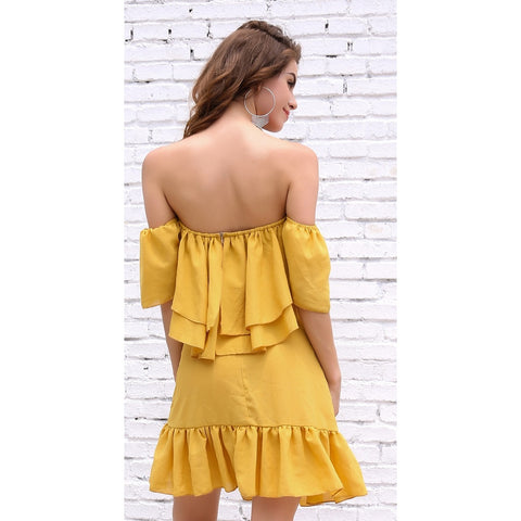 Day Dresses - Women's Trendy Yellow Off Shoulder Casual Party Dress