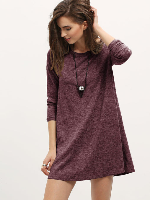 Burgundy Heather Knit Short Dress