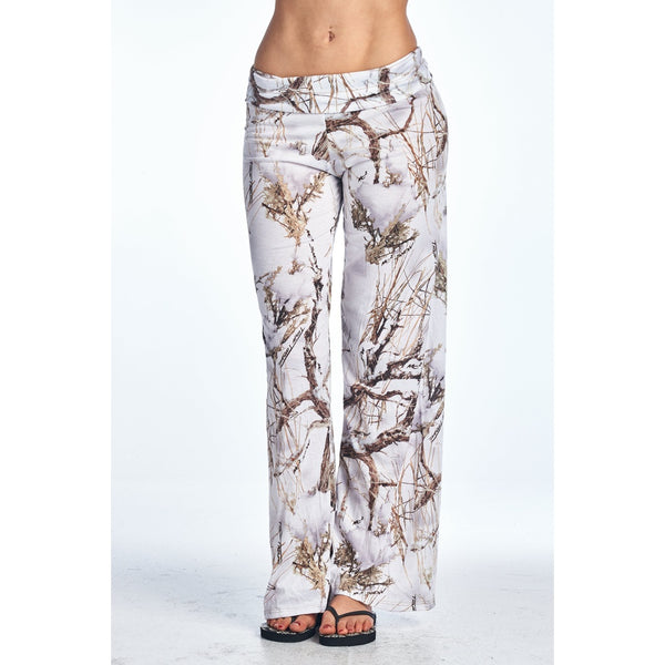 Wide Leg Pants - Women's Trendy White Waist Band Loose Fit Pant