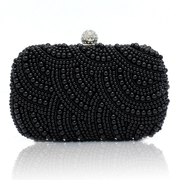 Clutch Bags - Women's Trendy Black Pearl Beaded Small Clutch Bags
