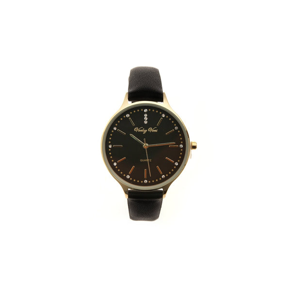 Gold Faux Black Leather Strap Watch