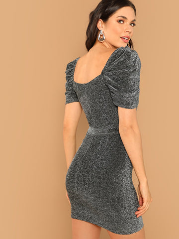 Silver Metallic Waist Tie Puff Sleeve Mini Dress