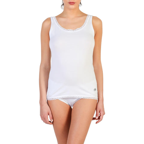 Vests & Tank Tops - Women's Trendy Pierre Cardin Underwear White Sleeveless Polyester Tank Top
