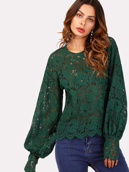 Green Lantern Sleeve Hollow Lace Top