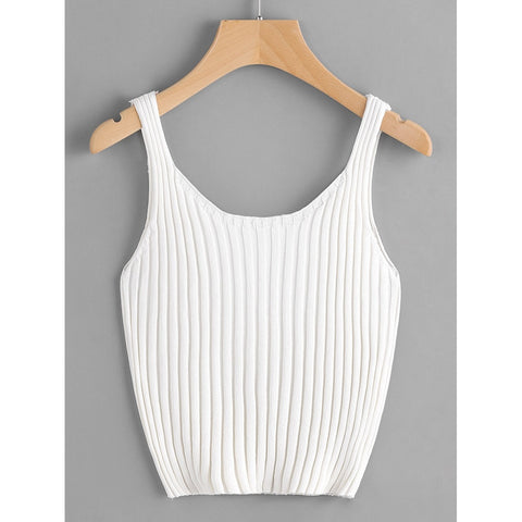 White Ribbed Knit Crop Tank Top