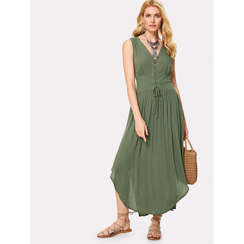 Army Green Lace Up Placket Wide Waistband Curved Dress