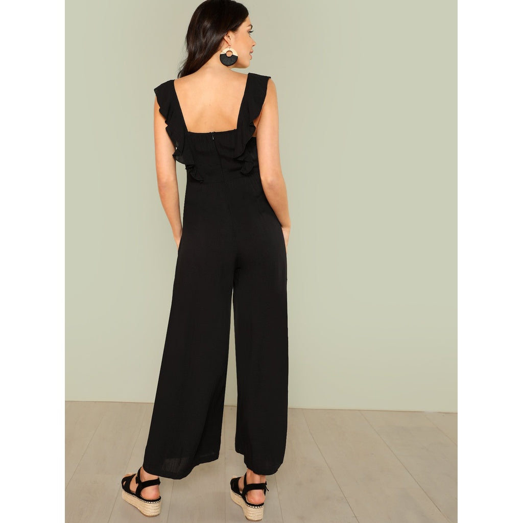 9dbefd6a29 Fashiontage - Black Ruffle Strap Button Front Palazzo Jumpsuit ...