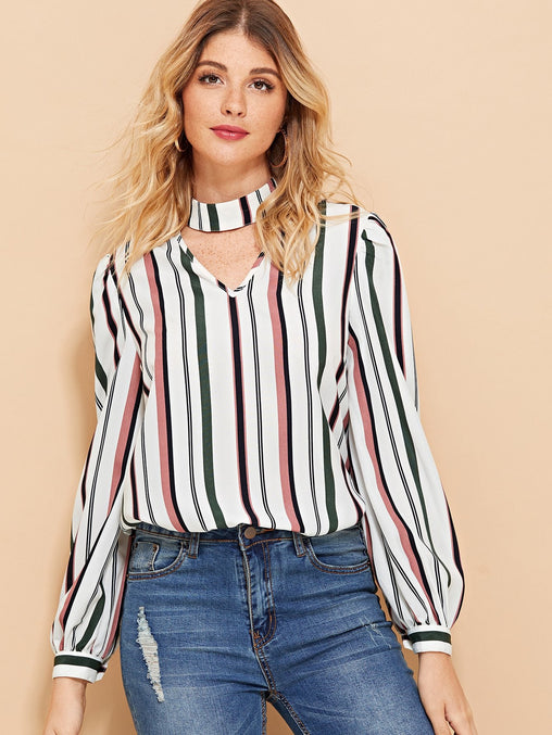 V-Cut Keyhole Back Striped Top