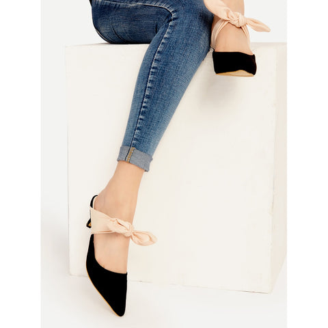 Black Point Toe Contrast Bow Tie Heeled Mules - Fashiontage