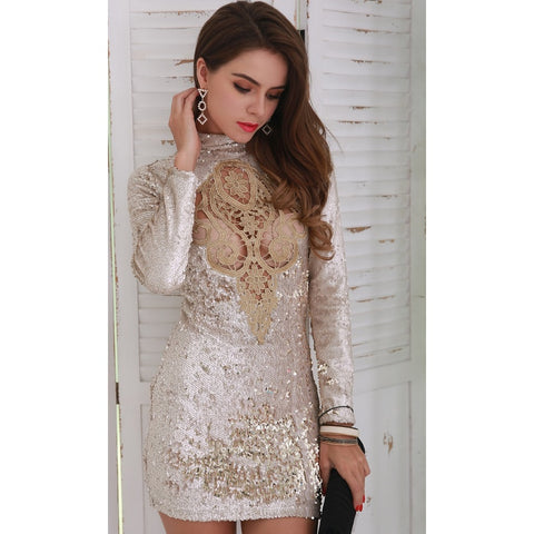 Day Dresses - Women's Trendy High Neck Long Sleeve Party Dress
